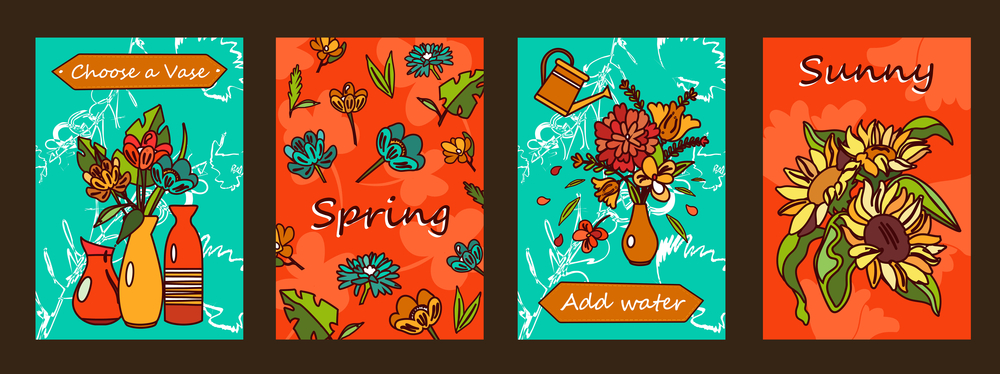 Posters illustrating flowers and vases